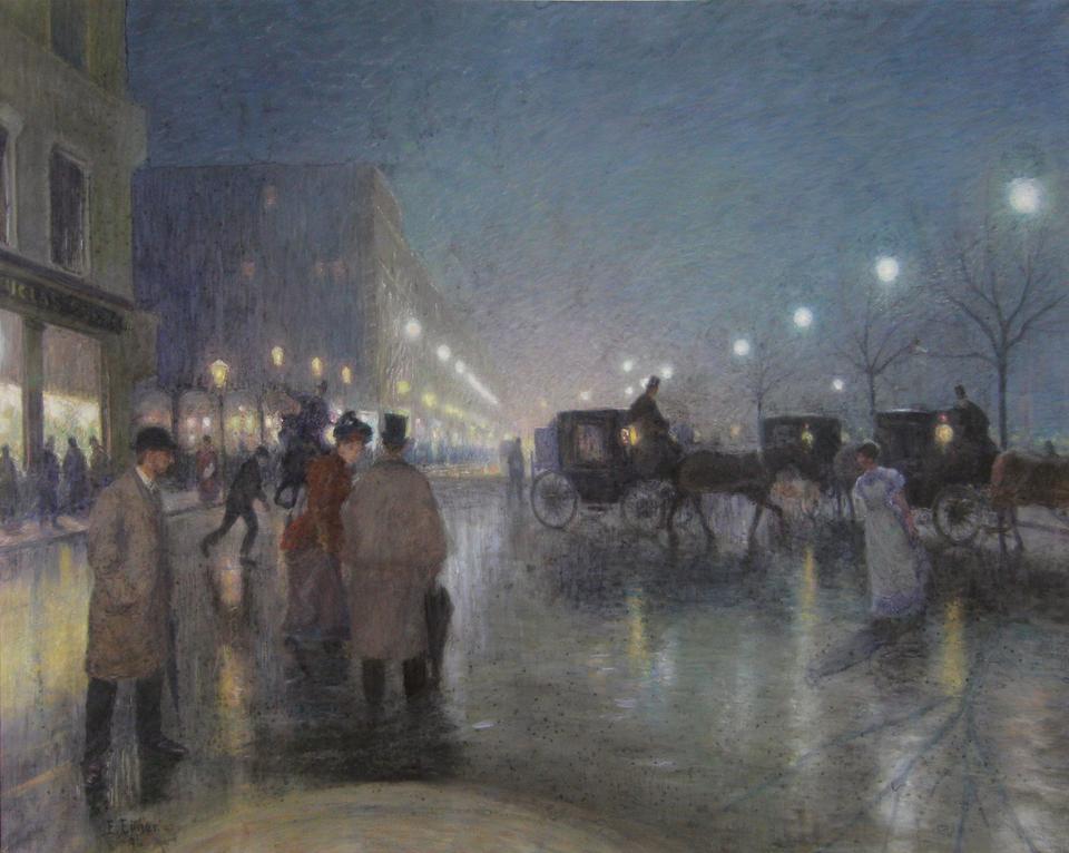 Bild: Jungfernstieg bei Abendbeleuchtung, 1894, Pastell