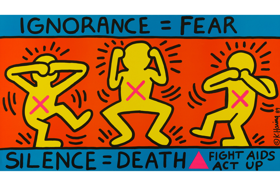 Bild: Keith Haring, Ignorance = Fear, Silence = Death, Fight Aids Act Up
