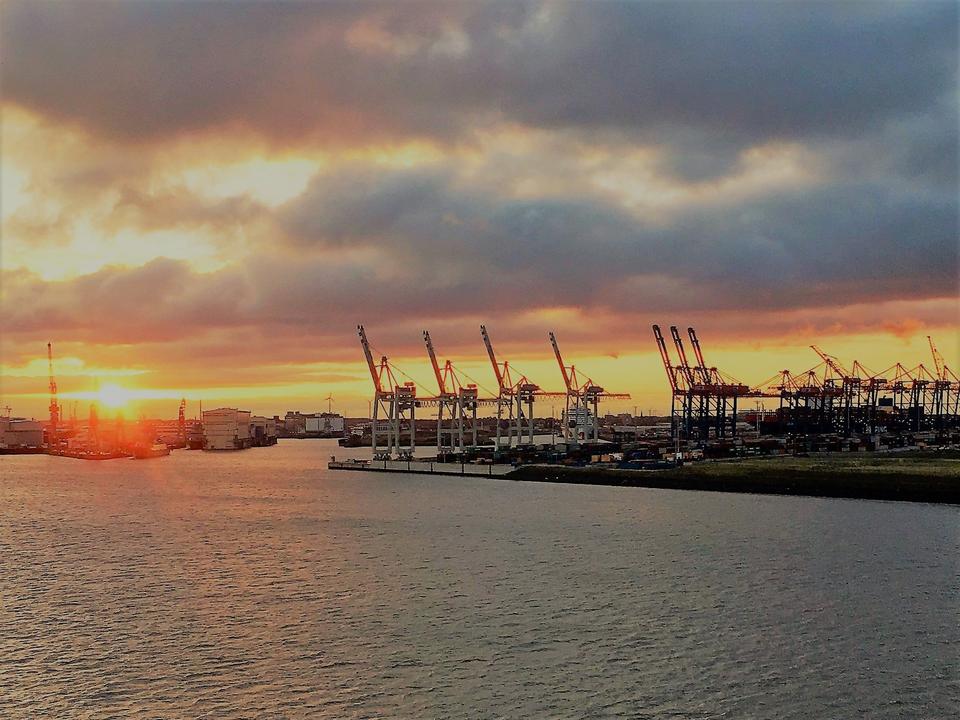 Bild: Morgensonne im Hamburger Hafen
