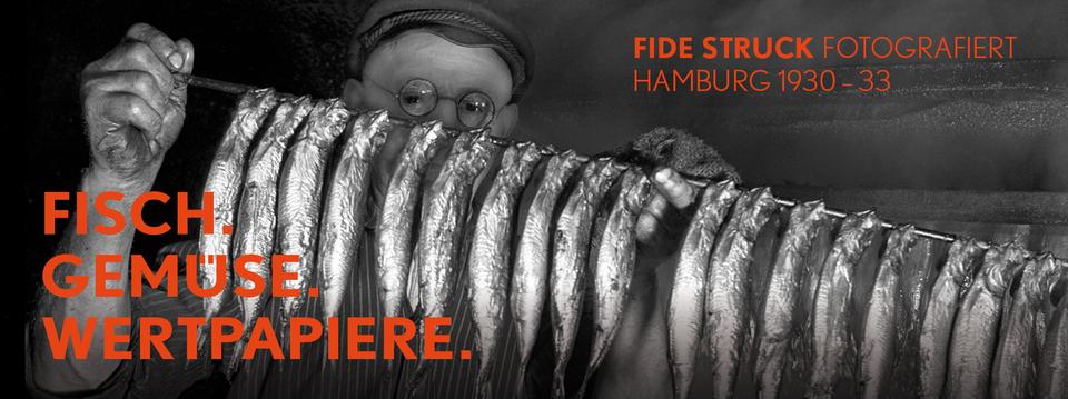 Bild: Fisch, Gemüse, Wertpapiere. Fide Struck fotografiert Hamburg 1930-33
