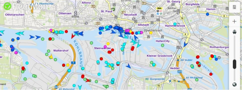 Schiffsradar Hamburger Hafen, © FleetMon.com