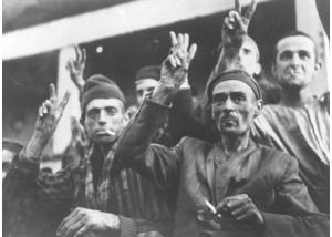 Befreite Häftlinge des KZ Neuengamme in Malmö, 11. Mai 1945