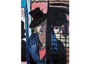Max Beckmann, Zwei Frauen (in Glastür)