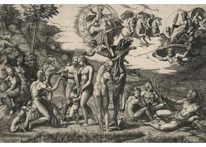 Marcantonio Raimondi nach Raffael, eigentlich Raffaello Santi oder Sanzio: Das Urteil des Paris, 1517/20, Kupferstich, 292 x 435 mm (Blatt)